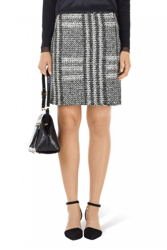 Marc Cain Black and White Glencheck Wrap Skirt