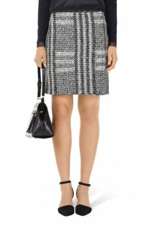 Black and White Glencheck Wrap Skirt