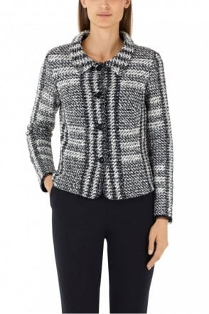 Black and White Jacket with Jacquard Pattern
