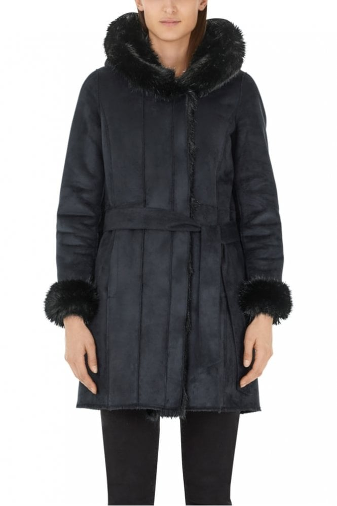 Marc Cain Black Cuddly Fun Fur Coat