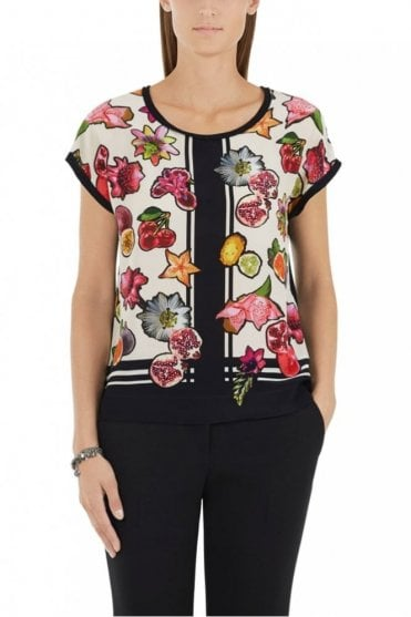Blouse-Style Top with Silk in Dahlia