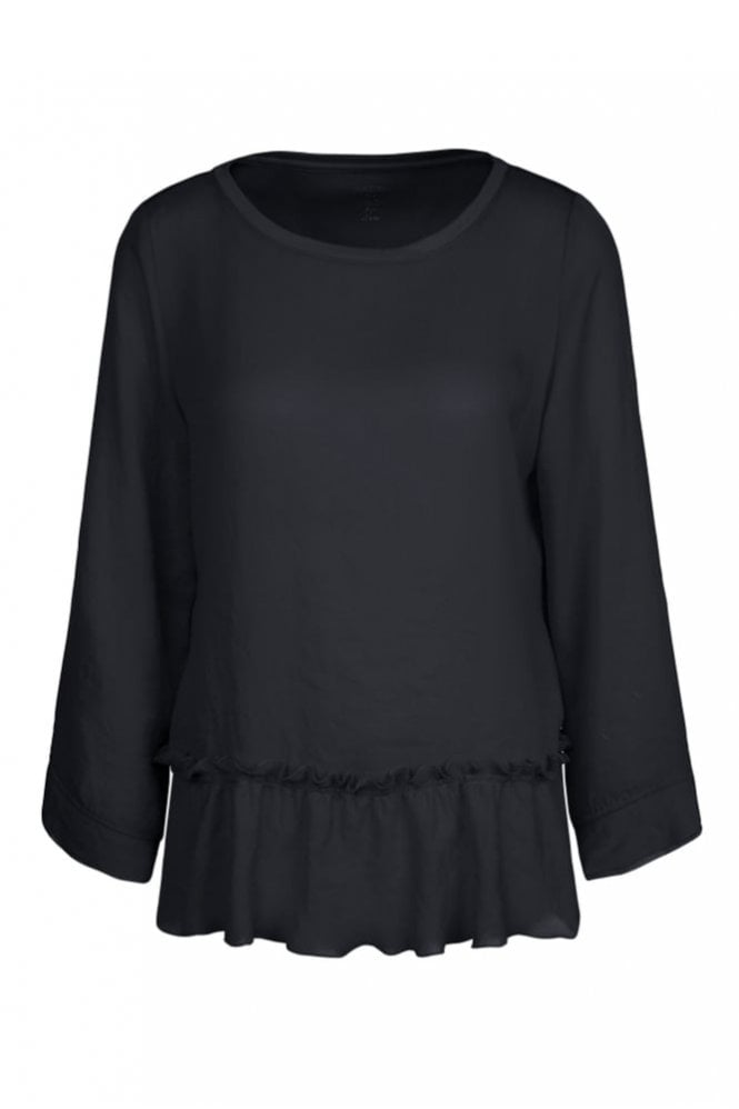Marc Cain Blouse Top in Mixed Materials in Midnight Blue