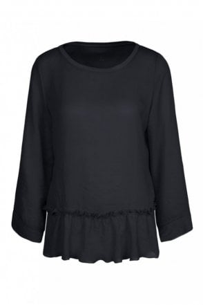 Blouse Top in Mixed Materials in Midnight Blue