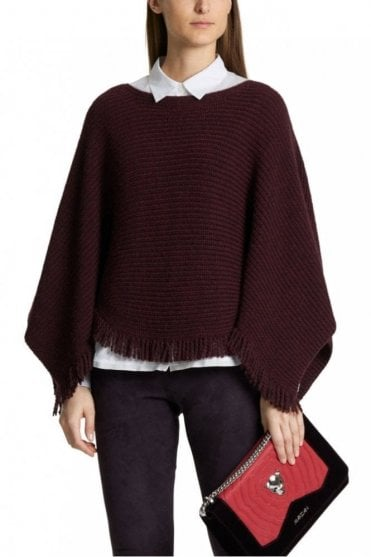 Cape with Fringes in Aubergine