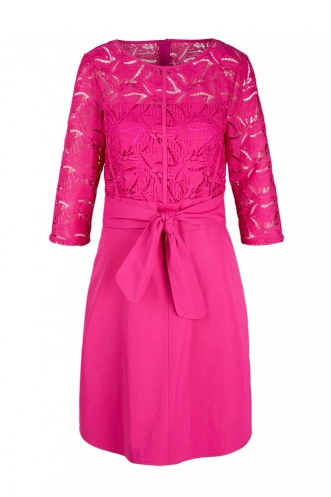 Marc Cain Dress with Lace in Pop Pink