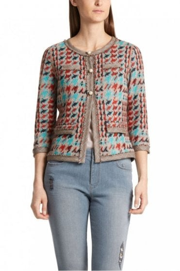Glen Plaid Knitted Jacquard Jacket in Croissant