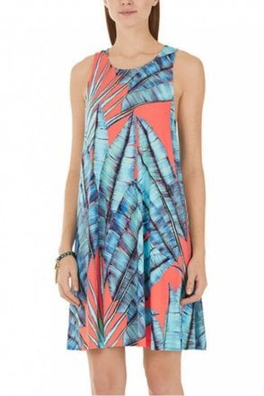 Leaf Print Dress With Racer Back