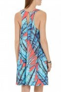 Marc Cain Leaf Print Dress With Racer Back