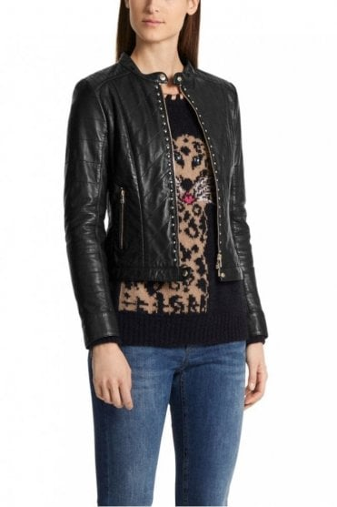 Leather Jacket with Rivets in Black