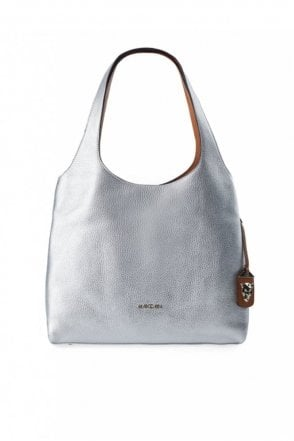 Metallic Effect Bucket Bag in Silver
