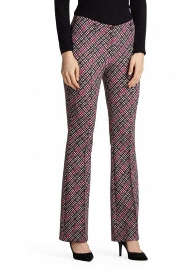 Neoprene Checked Pants in Pop Pink