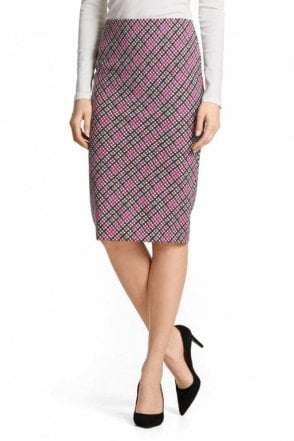 Neoprene Checked Skirt in Pop Pink