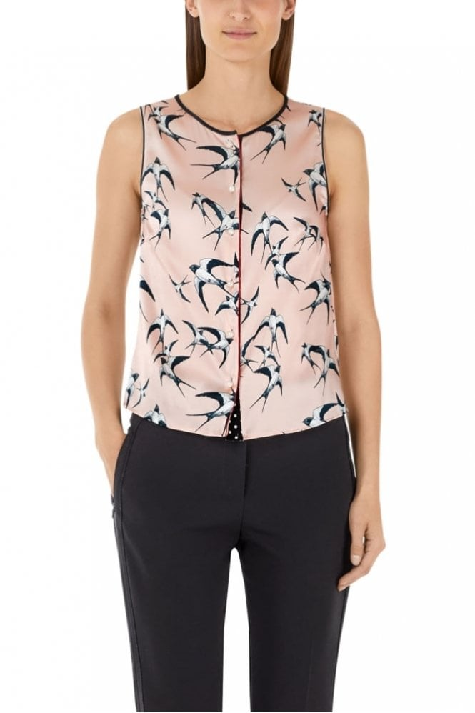 Marc Cain Nude Blouse-Style Top in Silk Satin