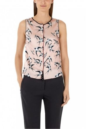 Nude Blouse-Style Top in Silk Satin