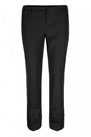 Pants with Ajour Inset in Black