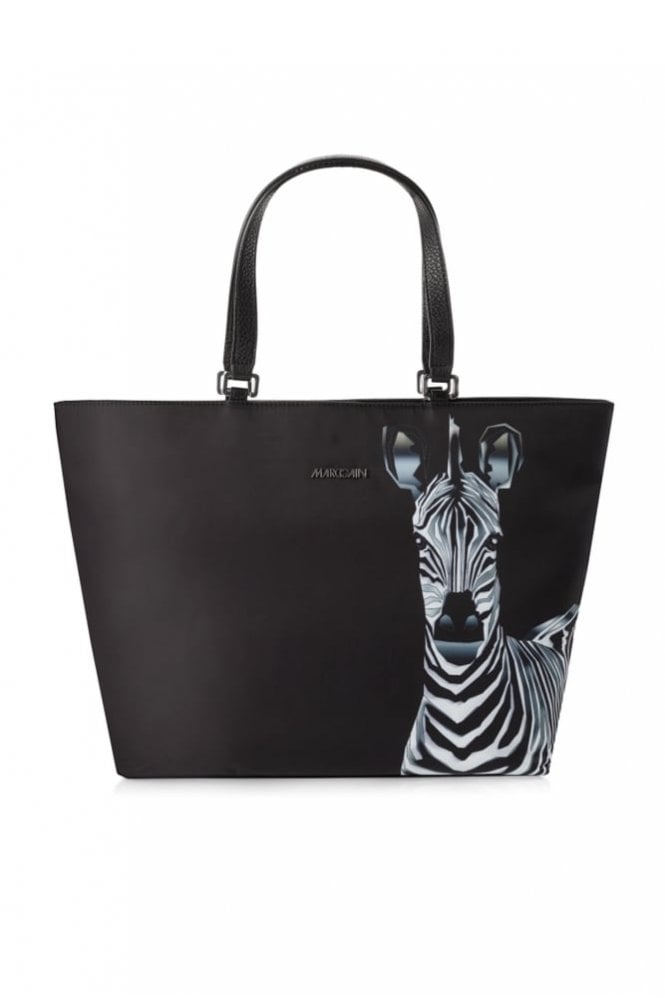 Marc Cain Tote Bag with Zebra Print in Black and White