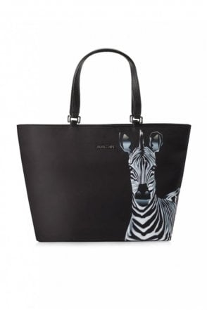 Tote Bag with Zebra Print in Black and White