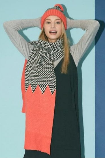 Graphic Scarf in Coral