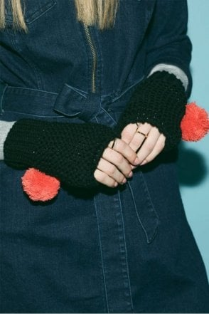 Pom Pom Fingerless Gloves in Black