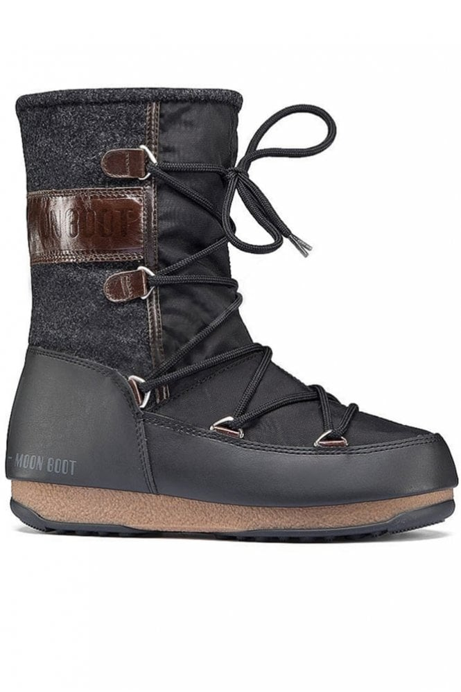 Moon Boot WE Vienna Felt in Black Darkbrown