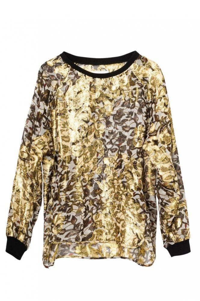 Munthe Juice Gold Chiffon Top