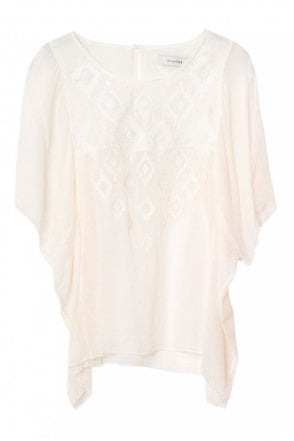 Marius Chiffon Top in Ivory