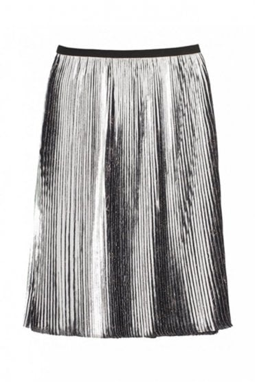 Oasis Plissé Pleated Skirt in Indigo