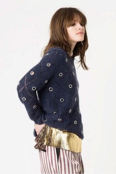 Oberta Mohair Rivet Sweater in Indigo