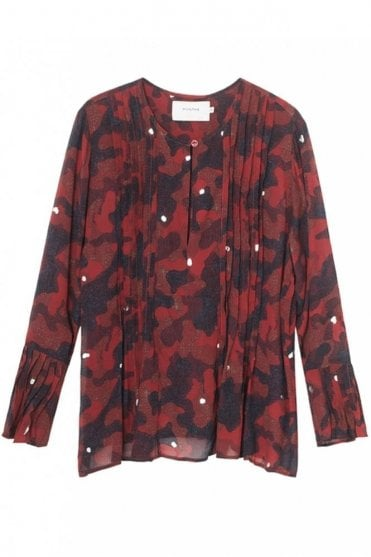 Oreo Camouflage Georgette Blouse in Red