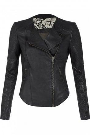 Bhira Black Leather Biker Jeacket