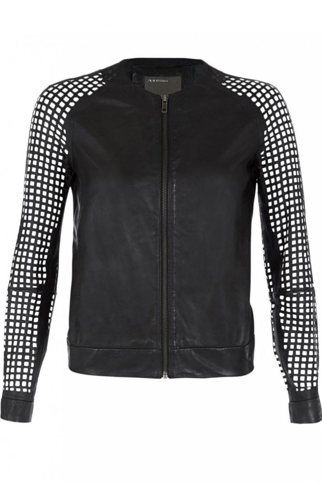 Muubaa Lagan Black Leather Laser Cut Bomber