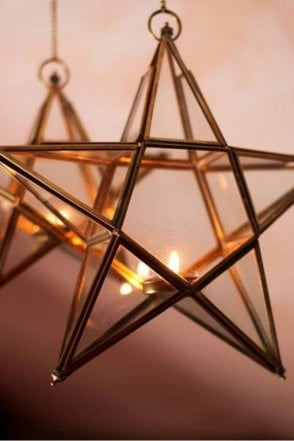 Antique Brass Glass Star