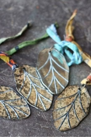 Antique Leaf Mirror Bauble