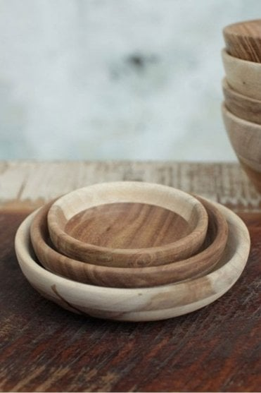 Atu Sheesham Wood Nibble Bowls – Set of 3