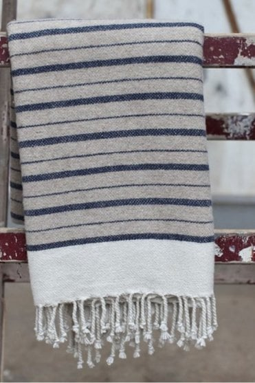 Etawah Wool Throw in Stone and Navy