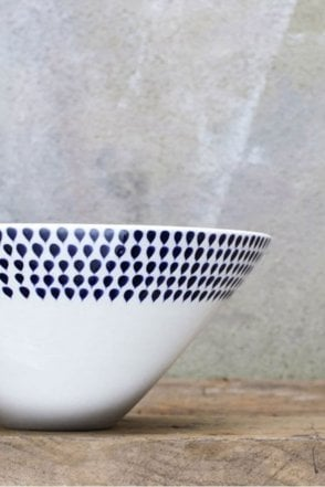 Indigo Drop Serving Bowl