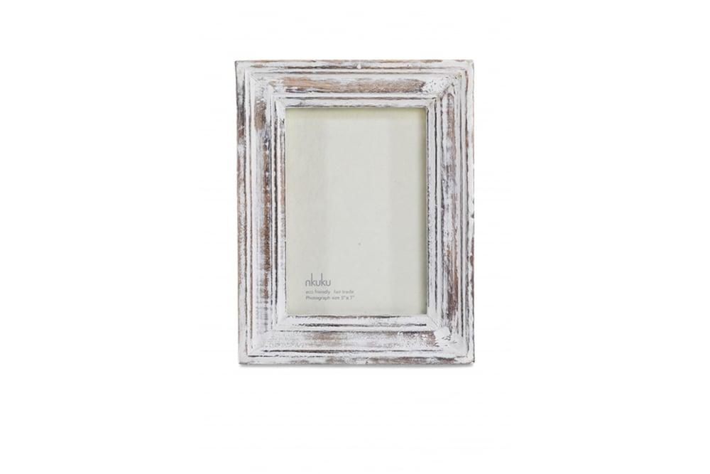 Nkuku Jasailmer Wood Photo Frame in Antique White at Sue Parkinson