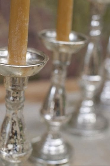Luwa Glass Candlestick in Antique Silver