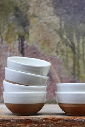 Mali Ceramic Bowl in Off White and Terracotta