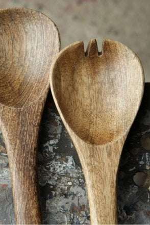 Mango Wood Salad Servers 30cm