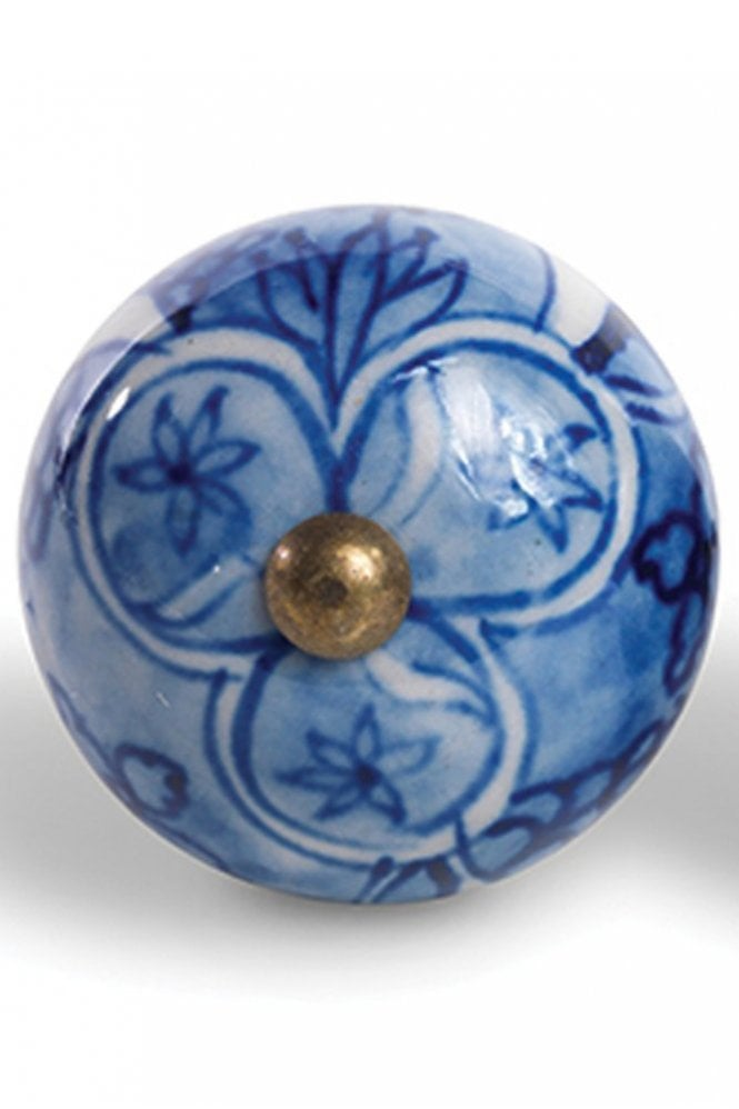 Nkuku Nungwi Ceramic Door Knob in Blue