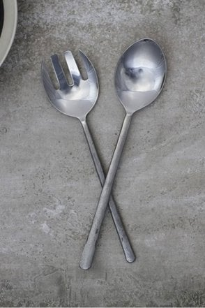 Sirkali Brushed Silver Salad Servers