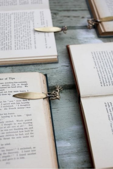 Stag Bookmark in Brass