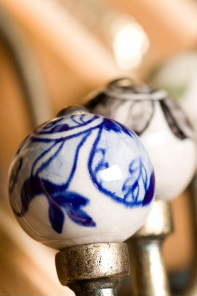 Nkuku Tembo Ceramic Hook in Blue