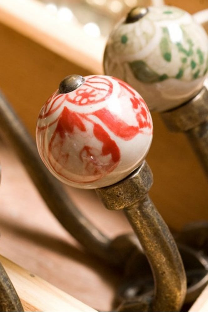 Nkuku Tembo Ceramic Hook in Red
