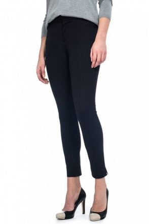Ankle Trouser in Black Stretch Cotton