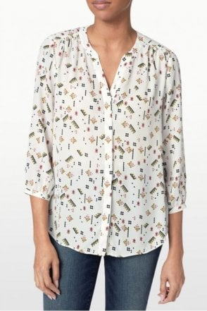 Cavalier Toss Printed Pleat Back Blouse