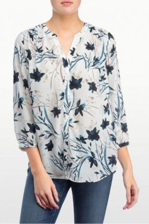 Modern Bloom Printed Pintuck Pleatback Blouse