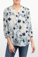 NYDJ Modern Bloom Printed Pintuck Pleatback Blouse