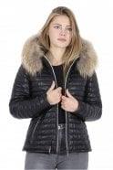 Oakwood Happy Black Leather Down Jacket with Fur Hood